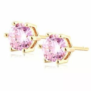 ROUND CUT PINK TOPAZ GOLD PLATED STUD EARRINGS